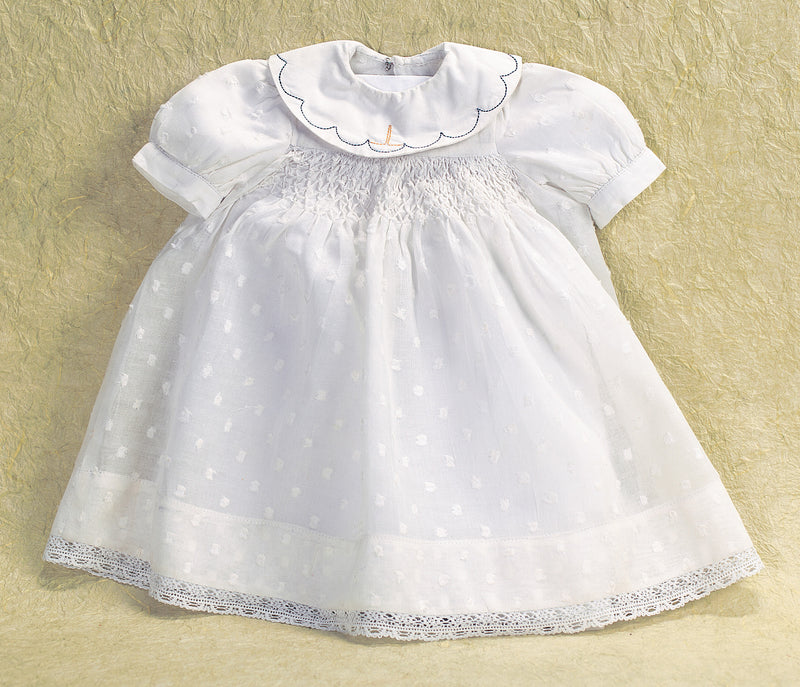 White Dotted Swiss Dress with Smocking