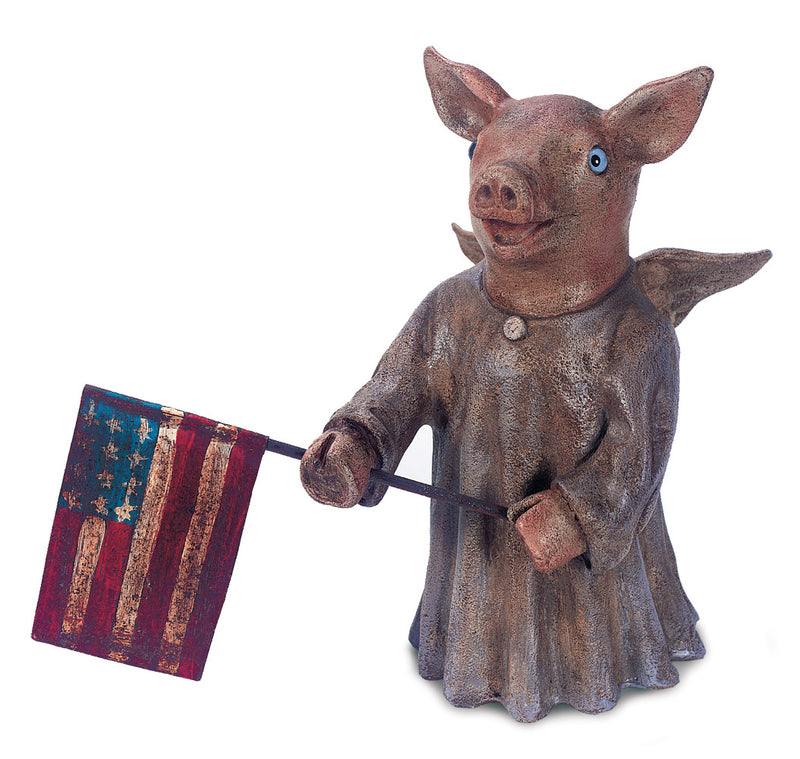 A Blue-Eyed Piglet Angel With Flag by Christopher Blake
