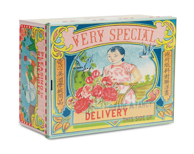 Asian Tin Very Special Delivery Cigar Box