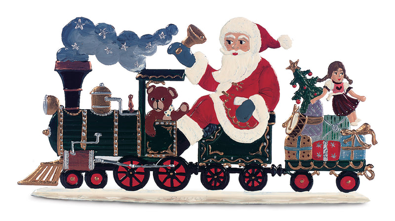 Santa With Christmas Train, a Bavarian Pewter Piece