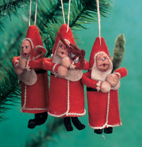 Cotton Batting Santa Ornament Set