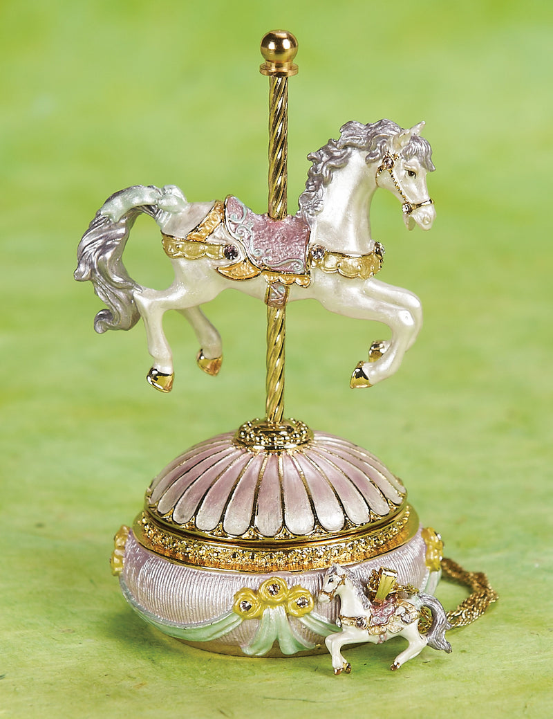 Carousel Horse Enamel Trinket Box and Necklace