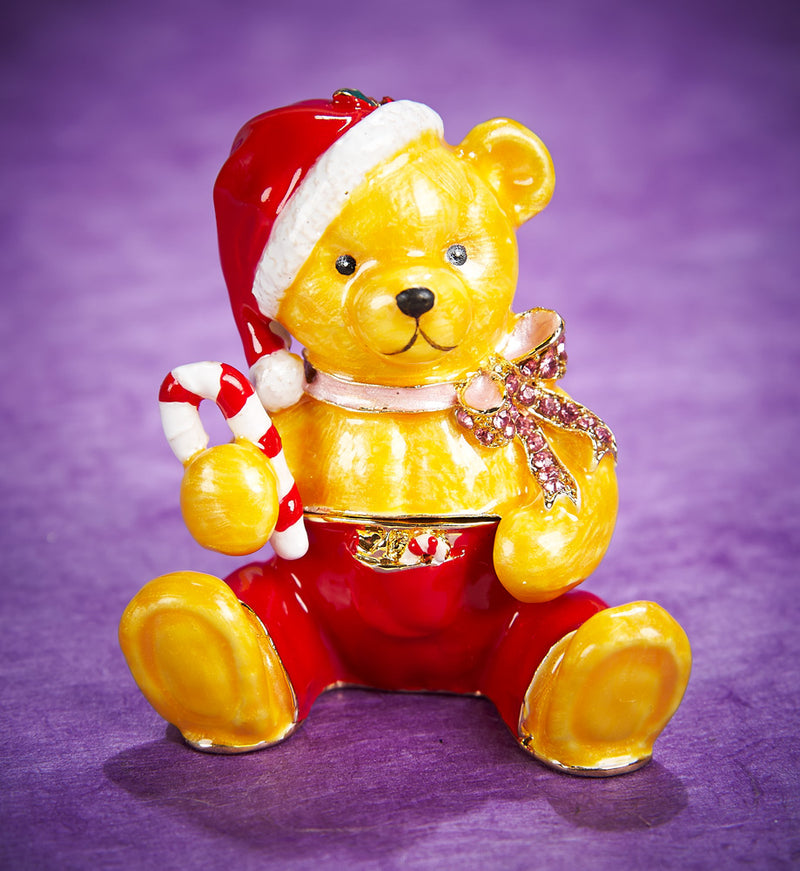 Jeweled Holiday Bear with Candy Cane Trinket Box
