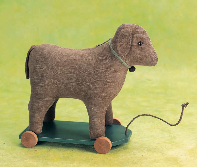 Folk Art Cloth Pull-Toy Lamb by Gail Wilson