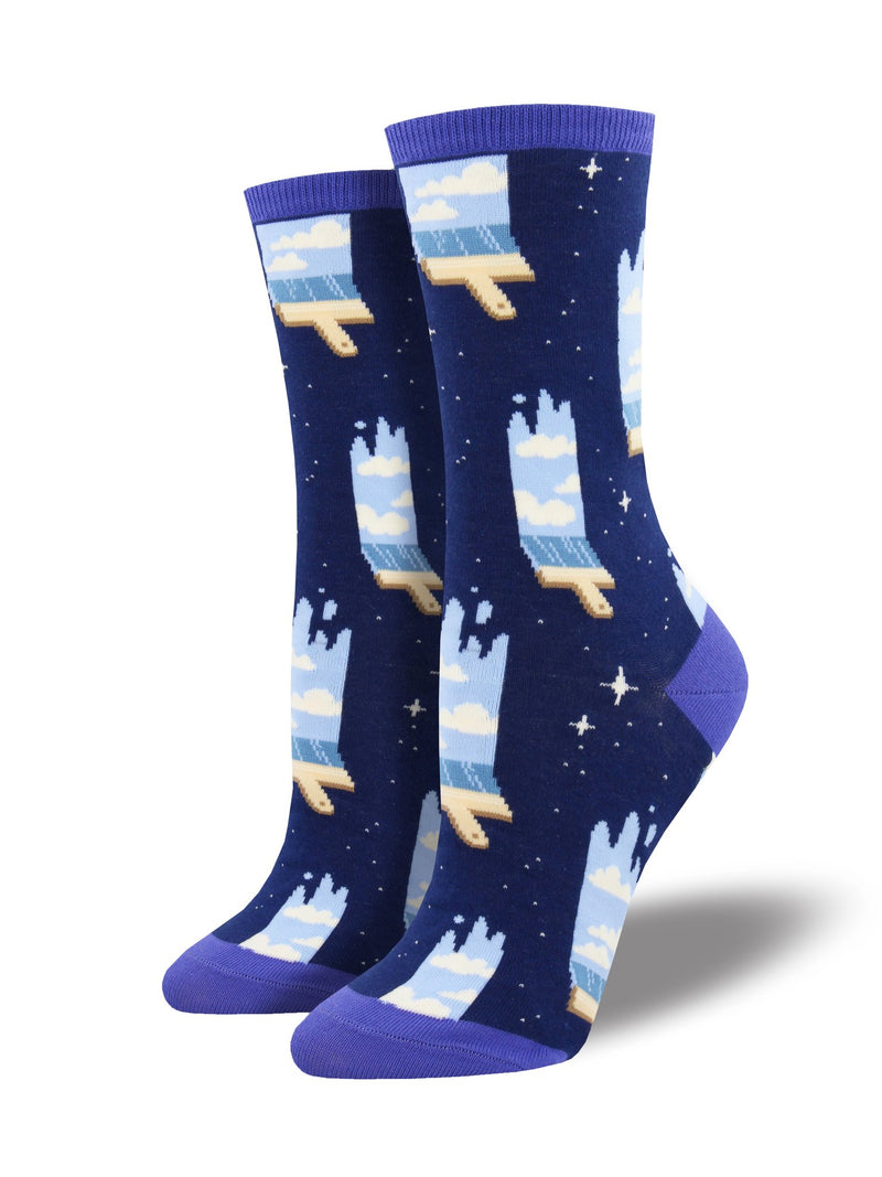 Paint the Sky Womens Cotton Crew Sock