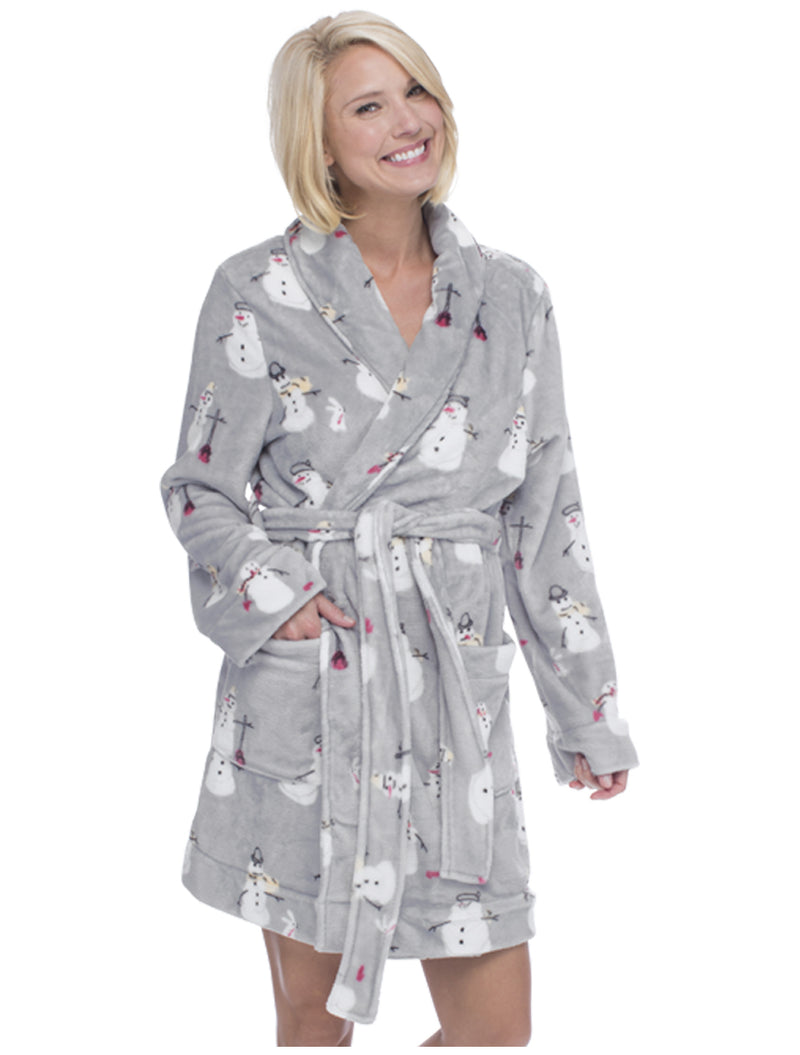 Snowmen Women's Bathrobe- Size L/XL