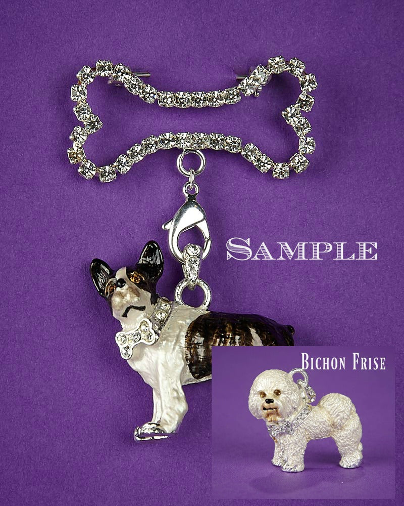 Bichon Frise and Bone Brooch