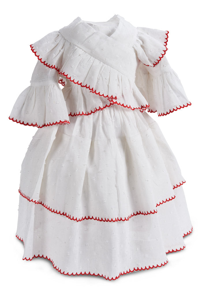 White Cotton Lady Gown with Red Scalloped Trim