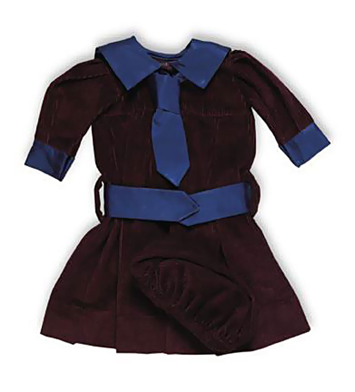 Maroon Corduroy  Sailor Dress & Cap