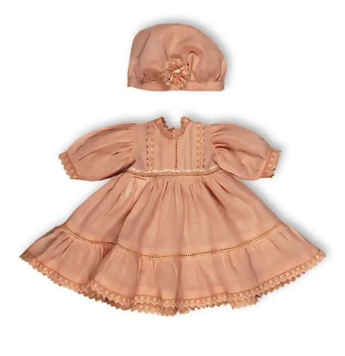Peach Cotton Dress & Cap