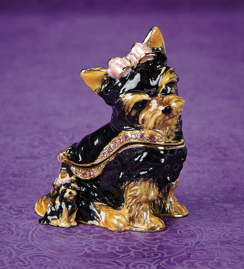 Sweetie Yorkie Trinket Box and Necklace