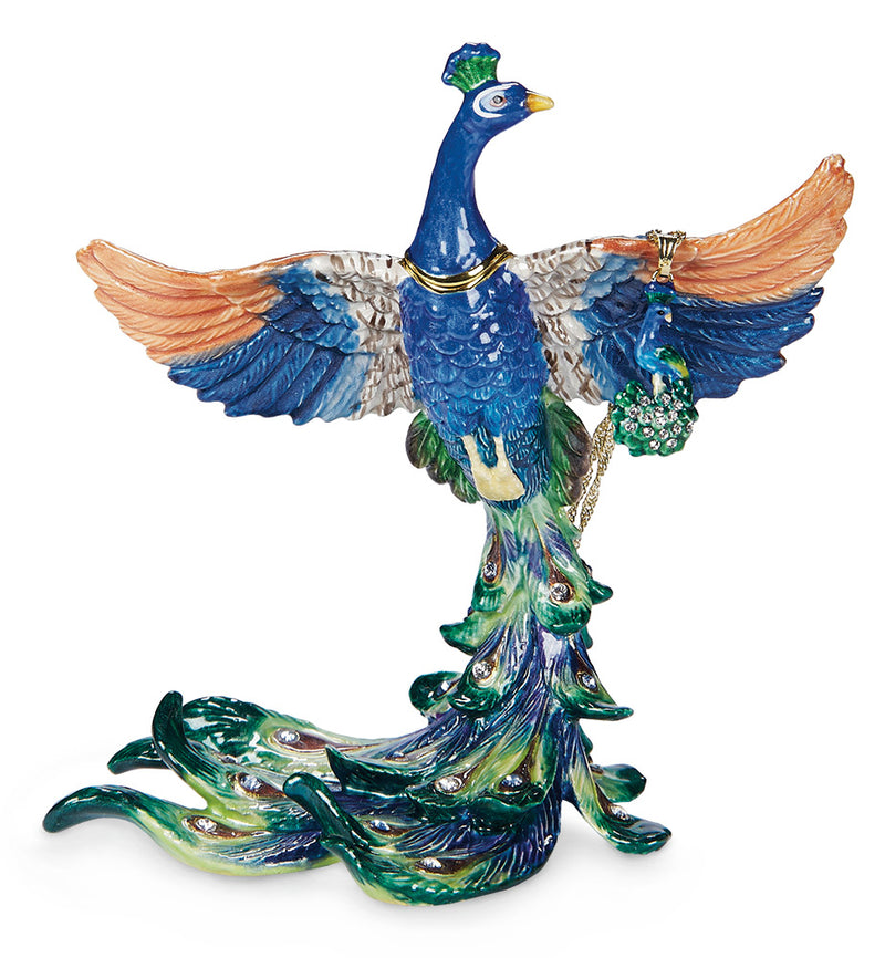 Peacock Taking Flight Trinket Box and Necklace