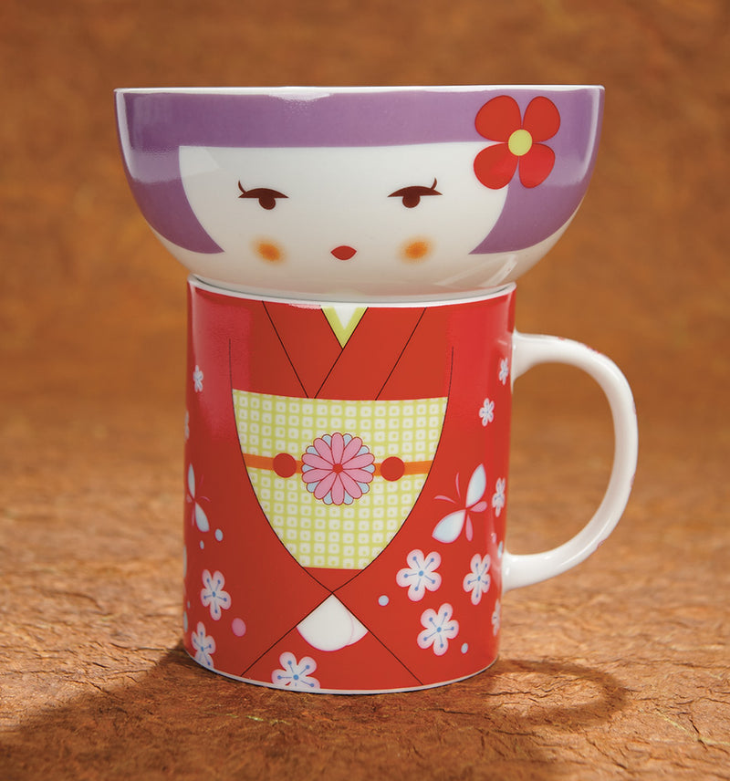 Japanese Girl Bowl and Mug Set