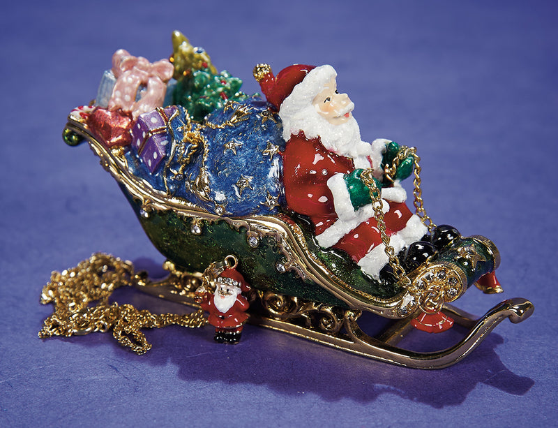 Santa and Sleigh Trinket Box with Necklace
