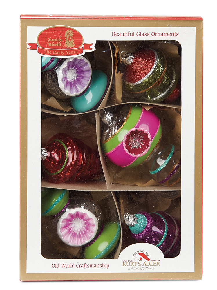 Glass Tinsel Filled Ornaments