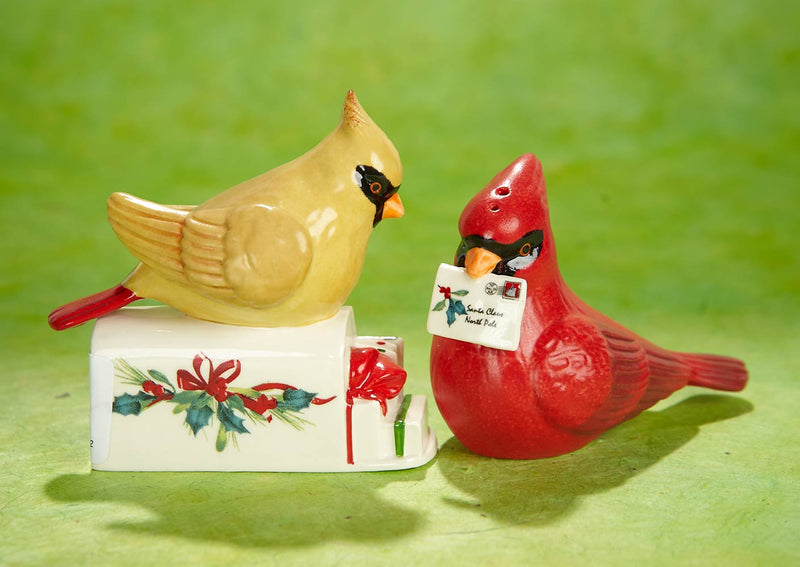 WINTER'S GREETINGS CARDINALS SALT AND PEPPER SHAKERS