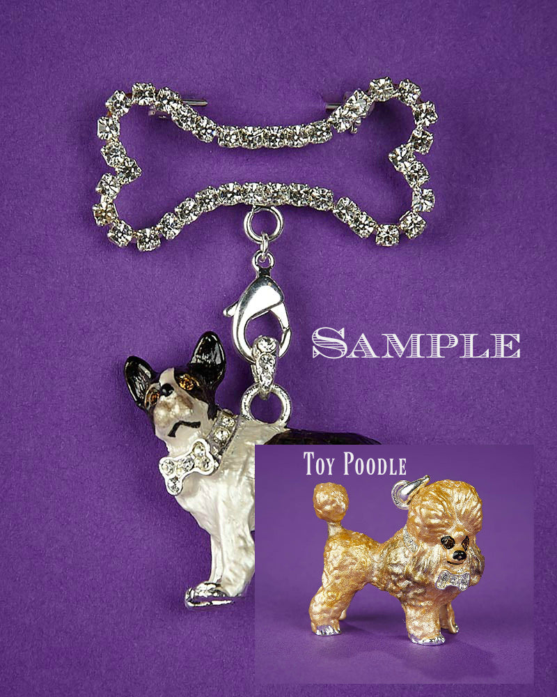Toy Poodle and Bone Brooch