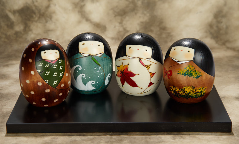 SHIKINOUTA, THE FOUR SEASONS SET KOKESHI DOLLS