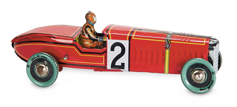 Red Race Car, a Key Wind Tin Toy