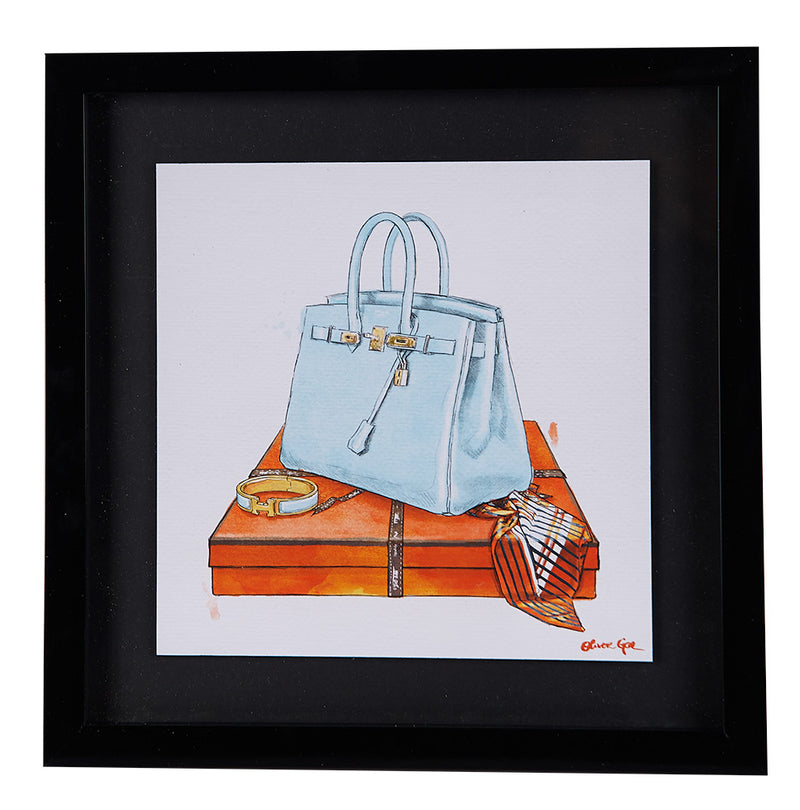 Blue Handbag Fashion Sketch Framed Print