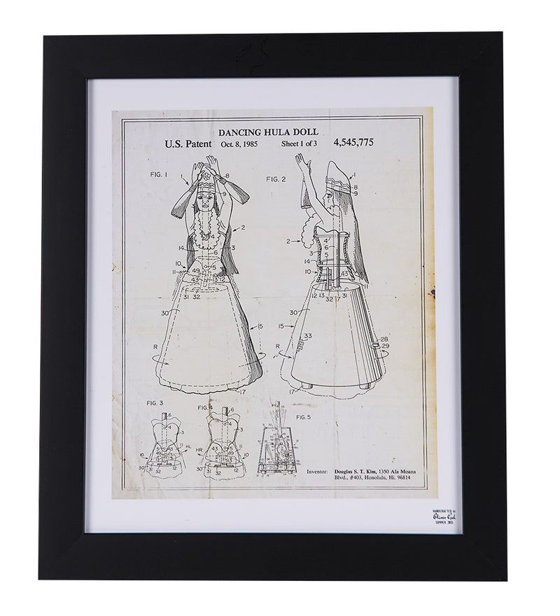 Hula Doll Patent Sketch Framed Print