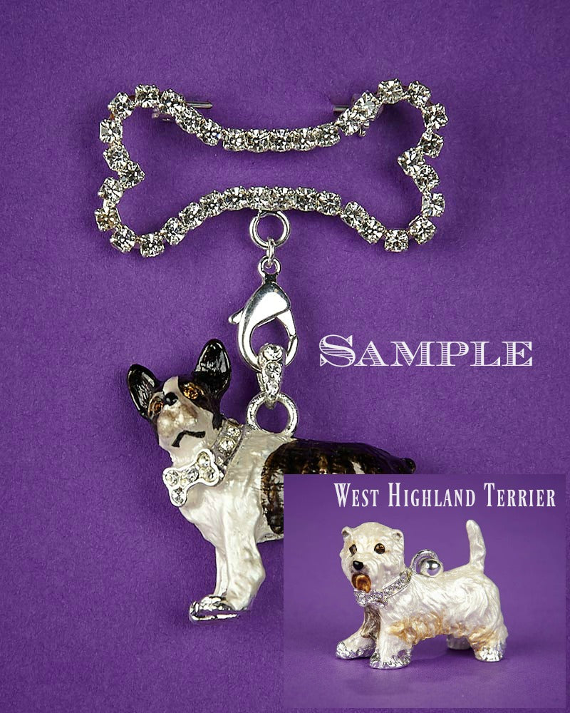 West Highland Terrier and Bone Brooch