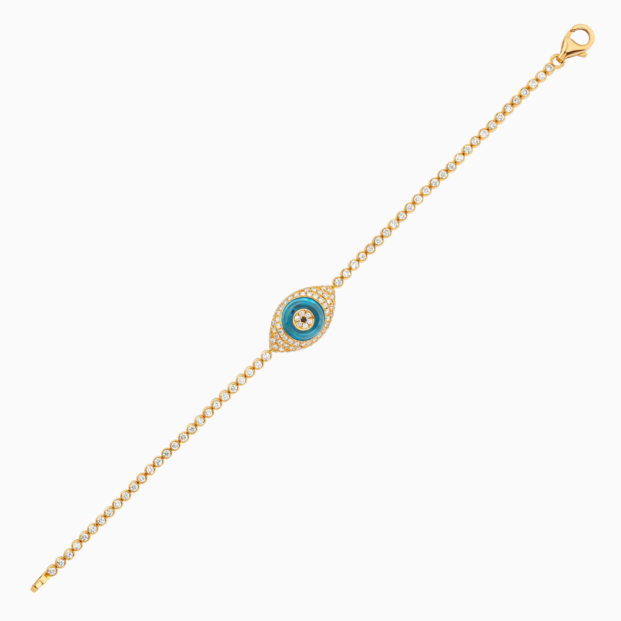 Against Evil Eye Shaped Pave Bracelet