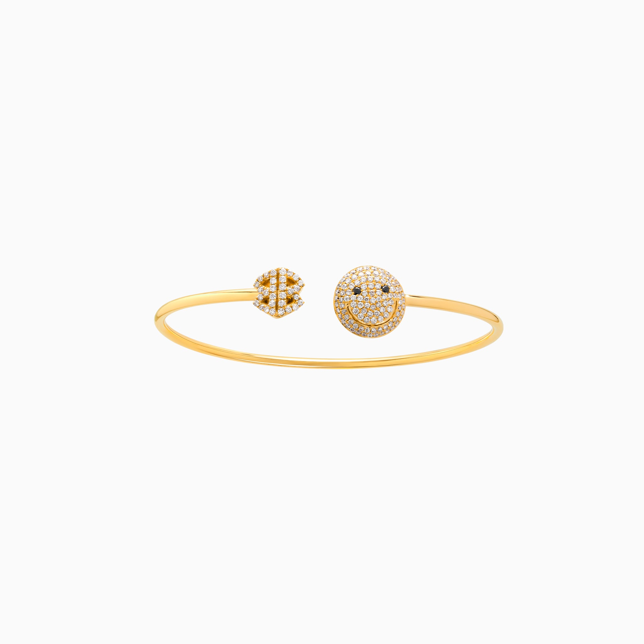 2B Happy Small Pave One Face Open Spring Cuff