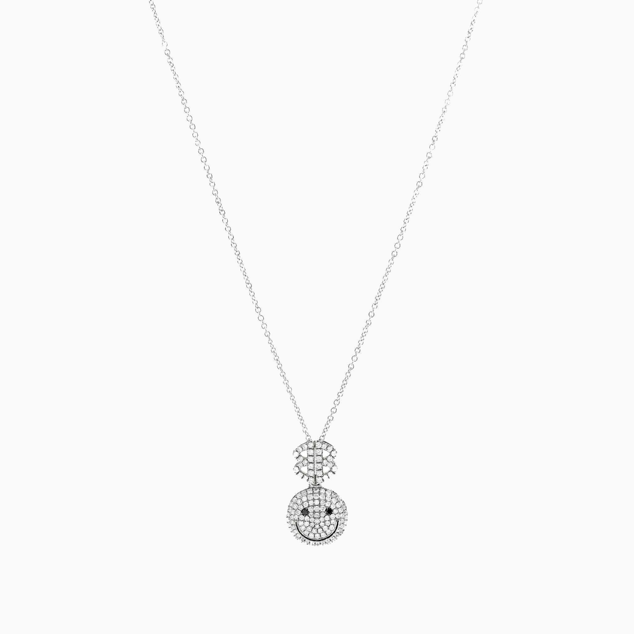 2B Happy All Pave Small Pendant White Gold