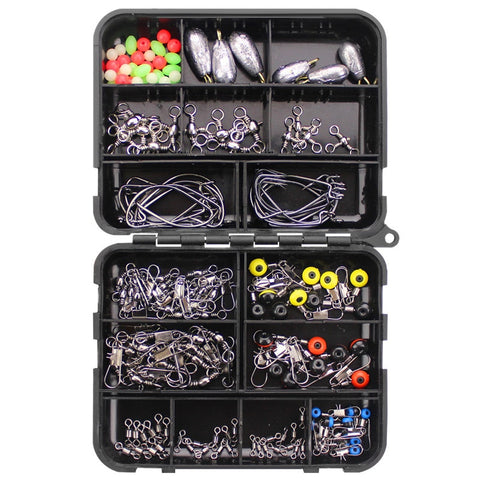 160pcs Fishing Accessories Kit Set With Fishing Tackle Box Including Fishing Sinker Weights Fishing Swivels Snaps Jig Hook Pesca