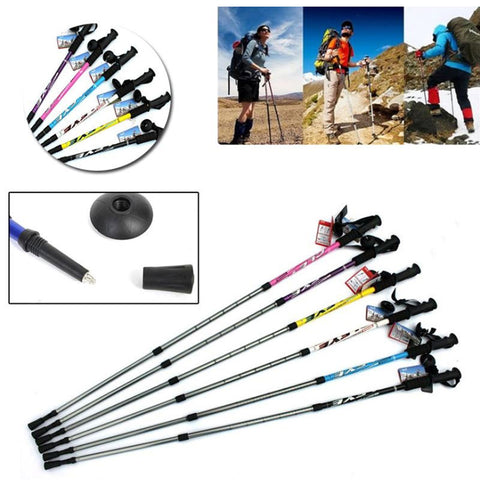 Hiking Poles Trekking Pole Walking Stick Alpenstocks 3-Section Adjustable Climbing 110cm Parts Outdoor T-Handle Sticks