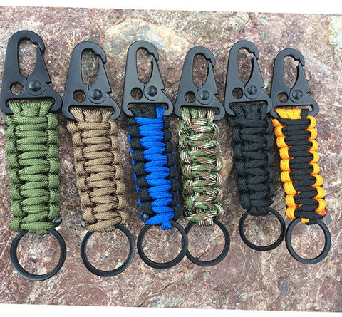 1PC Camping Survival Kit Military Parachute Cord Emergency Knot Key Chain Ring Camping Carabiner Rope Keychain Outdoor EDC Tool