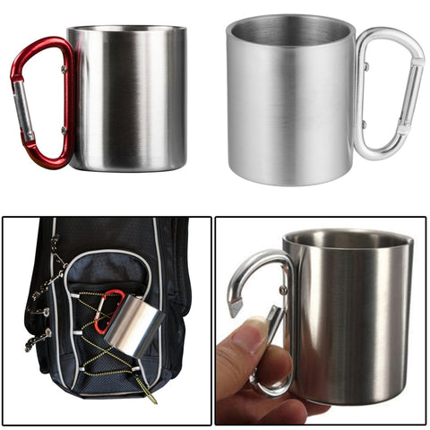 Tumbler Cup  Handle Travel New Stainless Steel Cup Camping Traveling Outdoor Cup Double Wall Mug With Carabiner Hook