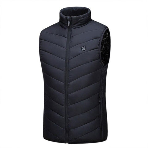heated jacket Vest USB Men Winter Electrical Heated Sleevless Jacket Travel  Outdoor Waistcoat Hiking