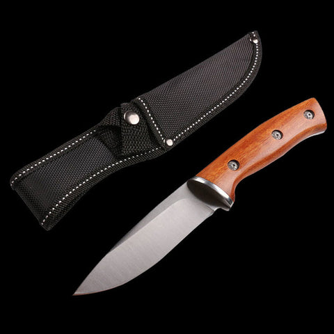 Mengoing OUTDOOR HUNTING COMBAT 440C Stainless Steel Fixed Blade Knife Natural Wood Handle High Density Nylon Sheath