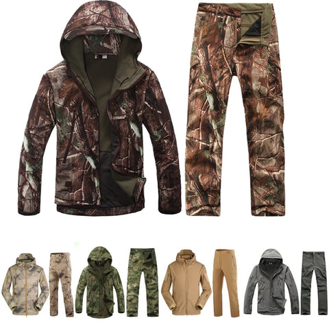 Military Hunting Coats Winter TAD 4.0 Skin Softshell Fleece Jackets Male Camouflage Hooded Jacket + Pants Uniform Outdoor Gear