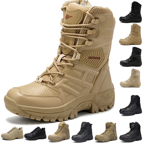 Cungel New Footwear Military Tactical Mens Boots Special Force Leather Desert Combat hiking Boot Army Men's hiking  Shoes