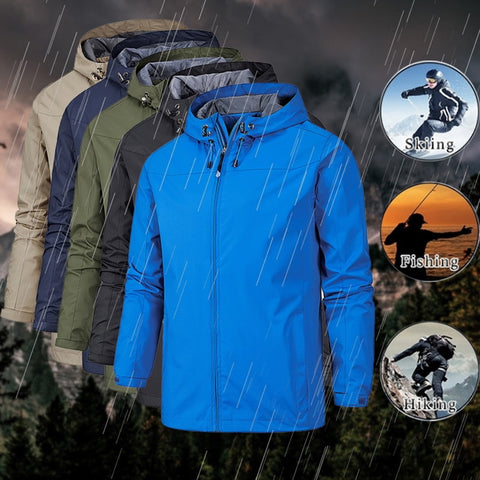 2019 Men Winter Jacket Waterproof Coat Windproof Warm Solid Color Lightweight Hooded Zipper Fashion Male Coat Outdoor Sportswear