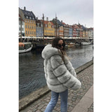Mazefeng Womens Hoodie Fluffy Fur Coat Fleece Long Sleeve Winter Outdoor Parka Jacket Top  Womens Thickness Coats Windbreaker