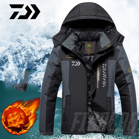2020 DAWA Thick Fishing Clothing Winter Waterproof Warm Fishing Jackets Men Fleece Outdoor Fishing Overcoat Oversized Size M-8XL