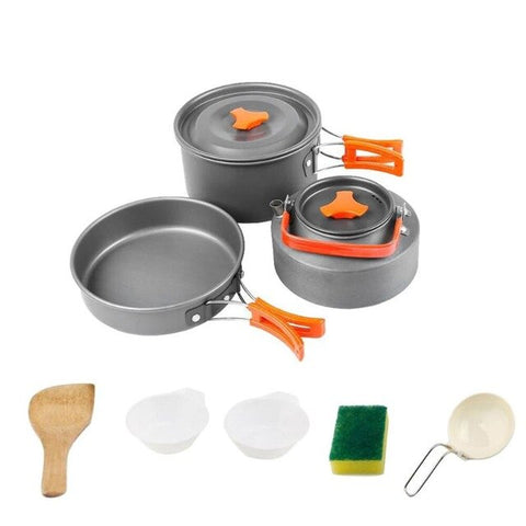 8pcs/set Portable 2-3 Persons Cookware for Outdoor Camping Backpacking