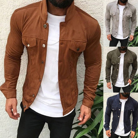 FAVSPOPRTS Autumn Winter Men Fashion Jacket Outdoor Slim-Fit Multi-Button Coat Workout Pocket Men Casual Jacket Sports Clothing
