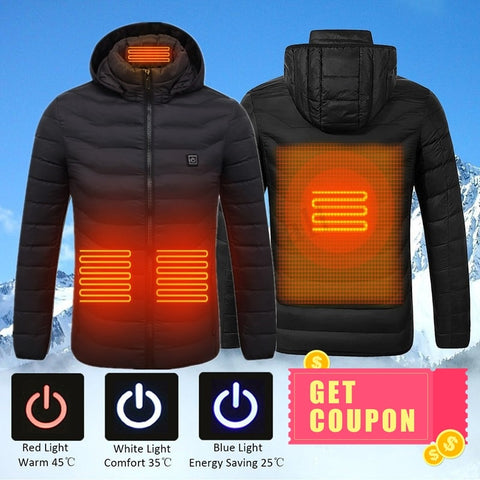 High Quality Heated Jackets USB Heating Cotton Men Women Outdoor Coat Electric Heating Hooded Jackets Warm Winter Thermal Coat