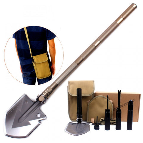GYMTOP  Multi-purpose engineering shovel Folding self-defense shovel tool Outdoor camping survival equipment