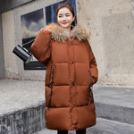 Women long Down Parkas Winter Thick Warm Casual Hooded Fur Collar jacket Long Sleeve Ladies Slim Jacket Outdoor 2019 plus size