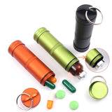 Waterproof Outdoor Emergency Medicine Aluminum Alloy Sealed Can Bottles Keychain EDC Survival Equipment