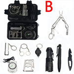 10 in 1 survival kit Set Outdoor EDC Camping equipment Travel Multifunction First aid SOS Emergency Supplies Tactical+slingshot