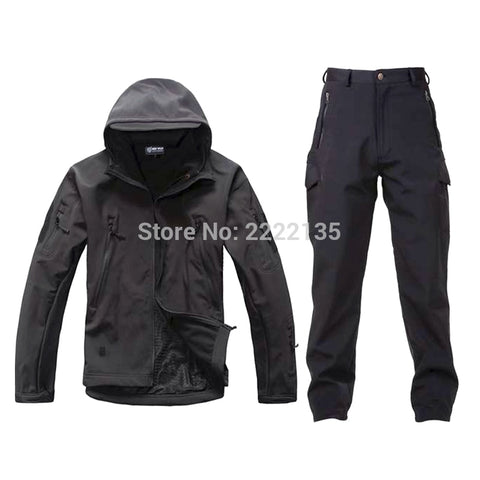 Hunting Combat Soft Shell SharkSkin Waterproof Hoodie Fleece Coat  Hoody Tactical Jacket +Pants Winter Outdoor TAD Gear