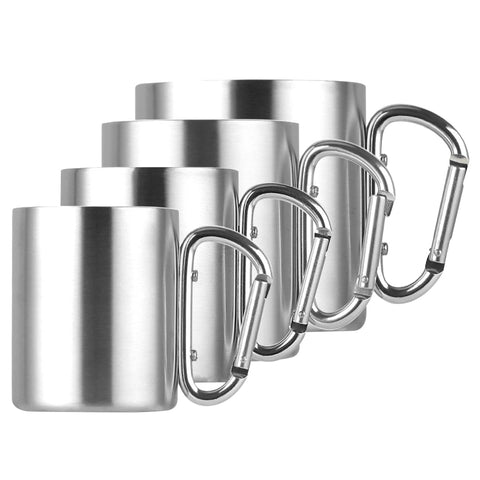 220ml 300ml 350ml 450ml Stainless Steel Cup Camping Traveling Outdoor Cup Double Wall Mug with Carabiner Hook Handle