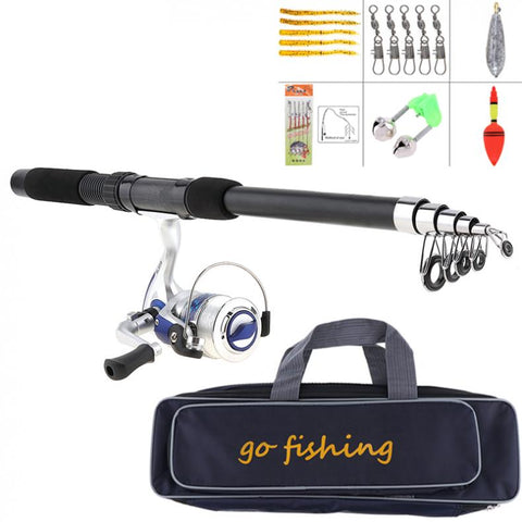 2.1m Fishing Rod Reel Line Combo Full Kits Spinning Reel Pole Set with Fishing Bag Soft Lures Float Hook Swivel Etc Tool Set